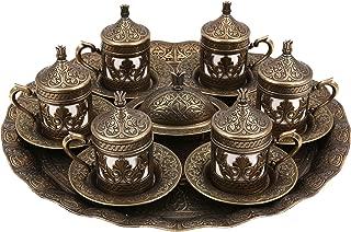 Traditional Design Cast Zamak Turkish Armenian Arabic Greek Coffee Set, Coffee Cup, Espresso Set, Tea Set for Six- Antique Gold- (CS6-205)