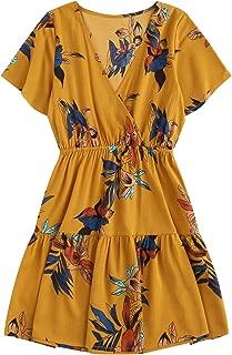 SheIn Women's Casual Short Sleeve V Neck Boho Floral Print Short Dress