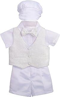 Dressy Daisy Baby Boys' 4Pcs Baptism Christening Outfit & Bonnet Wedding Suit