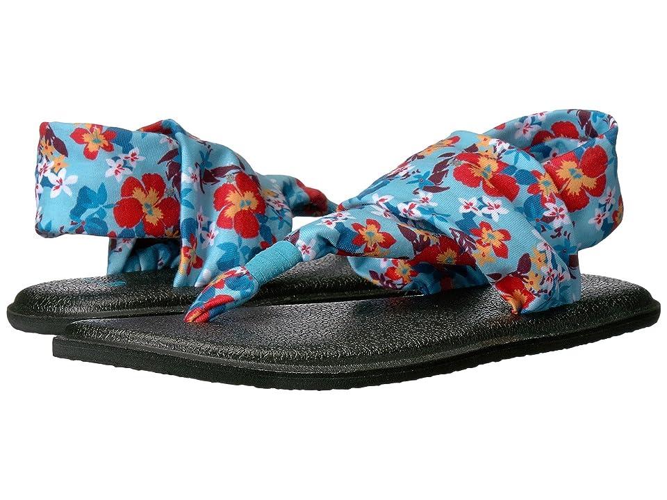 Sanuk Kids Yoga Sling Burst Prints (Little Kid/Big Kid) (Aqua Waikiki Floral) Girls Shoes