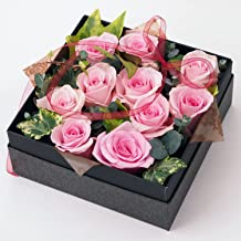 BOXフラワーアレンジメント【生花のバラのアレンジメント(ピンク系バラ10輪入り)・入学祝い・誕生日・御祝・記念日など】