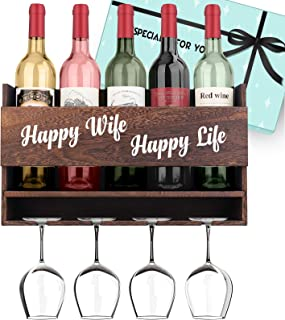 "Birthday Gifts for Wife Anniversay Gifts for Her - ""happy wife, happy life"" Wine Rack I love you Gifts for Her Valentines ..."