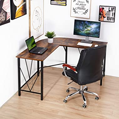 Amyove L-Shaped Desk, Home Office Desk with Round Corner,Computer Gaming Desk Table,Space-Saving/Easy to Assemble (Retro Colo