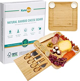 Kunaboo Bamboo cheese board and knife set - Charcuterie tray with cutlery set - FSC certified - Best for wine and cheese board parties, Christmas, wedding, housewarming gift, cheeseboard and knife set