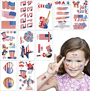 4th of July Decortions 10 Sheets Temporary Tattoos Patriotic Fourth of July Decor American Flag Red White and Blue Tattoos, Memorial/Independence Day Party Supplies Favors Tattoo Stickers