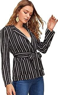 SheIn Women's Shawl Collar Elegnat Self Belted Long Sleeve Blazer with Pockets
