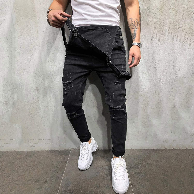 Men's Denim Bib Overalls Casual Slim Fit Onesie Romper Jumpsuit Ripped Holes Jeans Biker Shorts One Piece Playsuit