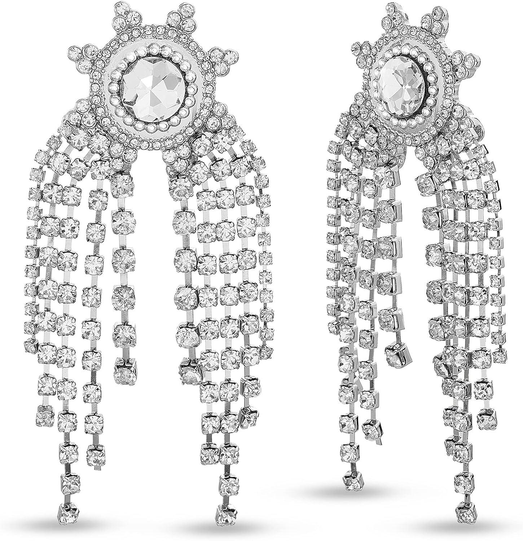 Badgley Mischka Sunburst Rhinestone Chain Fringe Dangle Earrings for Women