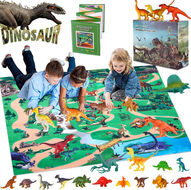 GINMIC Dinosaur Figurines Toys w Large Educa Max 46% OFF Activity Mat Play shipfree