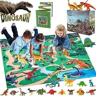 GINMIC Dinosaur Figurines Toys w/ Large Activity Play Mat, Educational Realistic Dinosaur Toys Playset to Create a Dino Wo...