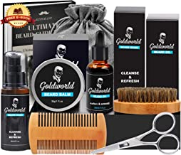 GoldWorld Beard Grooming Kit w/Beard Oil,Beard Balm,Beard Brush,Beard Comb,Beard Ornaments,Beard Wash/Shampoo,Scissor,Storage Bag,E-Book,Christmas Keychain,Beard Growth Care Gifts for Men
