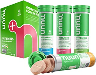 Nuun Hydration: Vitamin + Electrolyte Drink Tablets, Mixed Fruit Flavor Pack, Box of 4 Tubes (48 servings), Enhanced for Energy and Daily Health