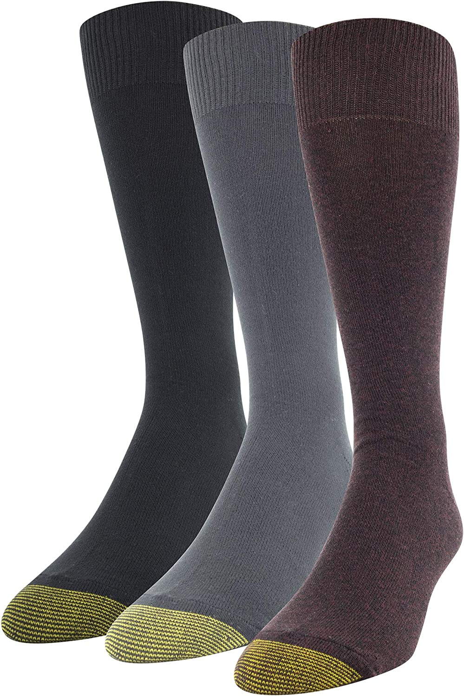 Gold Toe Men's Micro Flat Knit Crew Socks, 3 Pairs