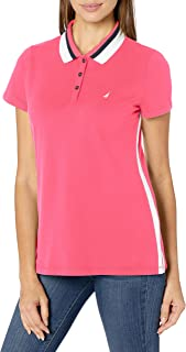 Nautica Women's Classic Fit Striped Collar Stretch Cotton Polo Shirt