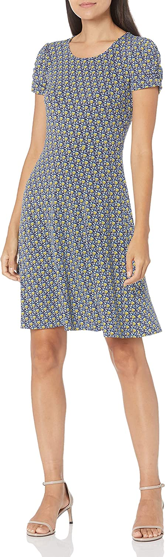 Lark Ro Women's Gathered Short Sleeve Great interest Neck Dress Crew Shift List price