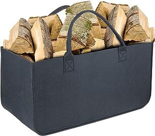 Bolsa de Fieltro, Wolintek maderaTote Chimenea Madera Cesta con Mango para Transportar Madera, Juguetes, Periódicos, Compras,camping 50 x 25 x 25 cm (negro)