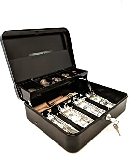 Cash Box | Portable Money Box | Petty Cash | Keyed | Coin Tray with Lid | Extra Storage for Rolled Coins, Checks and Other Valuables