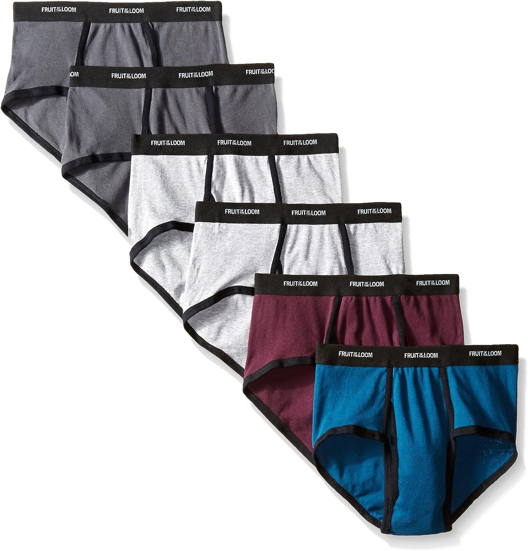 Fruit of the Loom Men's Fashion Brief (Pack of 6), Ringer Solids, Medium