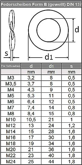 Federscheiben M5 Form B gewellt DIN 137 Edelstahl A2 Unterlegscheiben Beilagscheiben Wellscheiben 5 St/ück