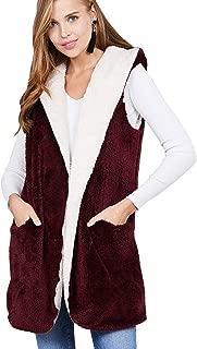Vialumi 女式常规尺寸超柔软前开襟人造毛皮双面连帽夹克