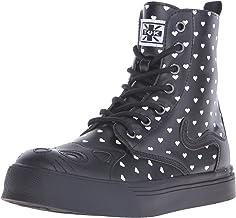 T.U.K. Shoes Women'S Black & Cream Heart Kitty Combat Boot Sneaker