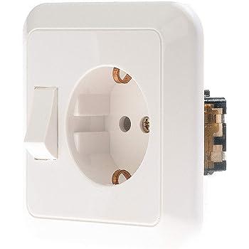 Busch-Jaeger 4310/6EUJ-214 - Enchufe Schuko con interruptor basculante, color blanco: Amazon.es: Bricolaje y herramientas