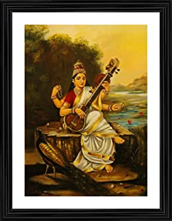 *Goddess Saraswati with Sitar & Peacock* (1896)- A Famous Painting by Raja Ravi Varma, Wall Décor Frame (Acrylic Coating, ...