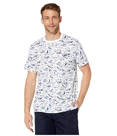 Lacoste Short Sleeve All Over Printed Jersey T-Shirt (White/Multicolor) Men