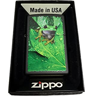 Zippo Custom Lighter - Peeking Frog on Leaves - Regular Black Matte