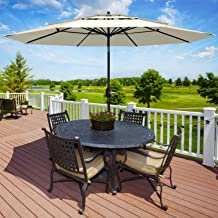 Patiassy 3 Tier Triple Top 11 Feet Air Vented with Tilt Patio Outdoor Umbrella for Table Market, Beige