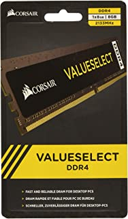 Corsair Value Select - Módulo de Memoria Principal de 8 GB (1 x 8 GB, DDR4, 2133 MHz, CL15), Negro (CMV8GX4M1A2133C15)