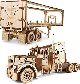 Ugears Heavy Boy Truck & Trailer Mechanical 3D Model for Self-Assembly, Wooden Box Craft, Men Decor