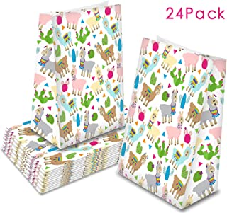 Llama Goodie Bags, 24 Cactus Llama Party Favor Bags Llama Cactus Gift Bags Mexico Fiesta Treat Goody Bags Themed Baby Shower Birthday Party Supplies
