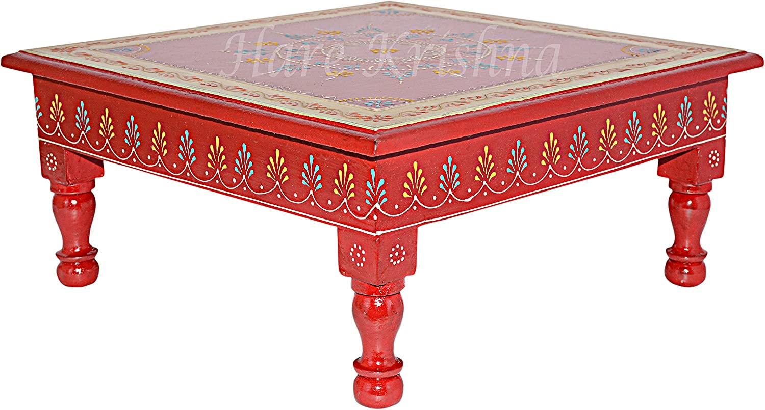 Modern Style Coffee Side Low Table Wooden Hand Painted Chowki Bajot Furniture (Red) 13 x 13 x 5.5 Inches