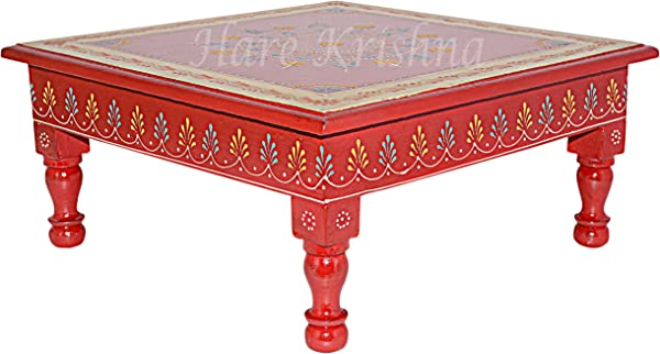Indian Wooden Furniture Hand Painted Chowki Pooja Low Side Table Maroon 13 X 13 X 5 5 Inches
