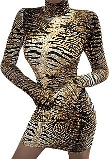 MAXIMGR Womens Sexy Bodycon Clubwear Dress High Neck Long Sleeve Striped Tunic Long Pencil Dress