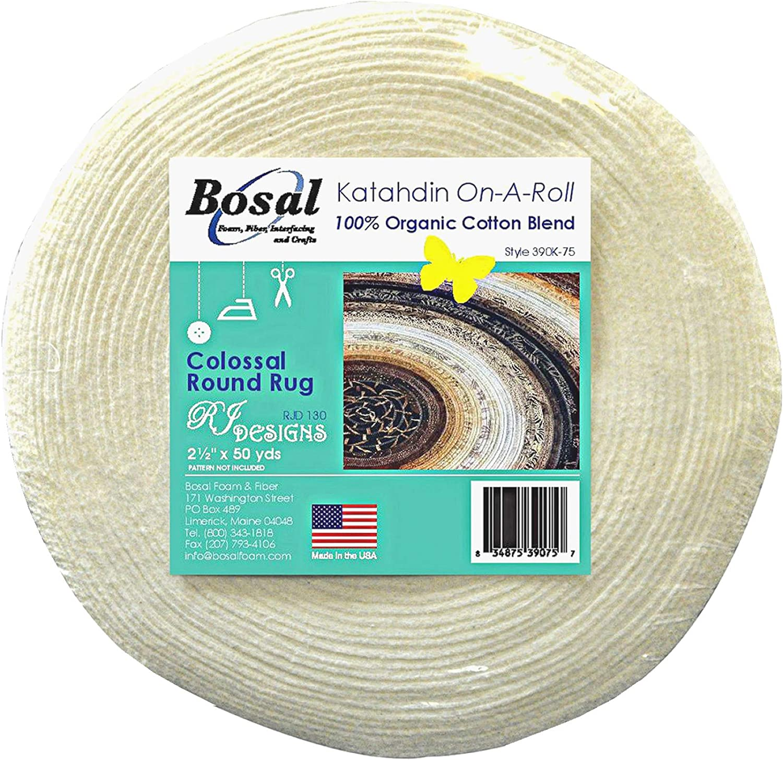 1 Bosal Katahdin 100/% Organic Cotton Blend Batting On A Roll 2.5 inches x 50 Yards