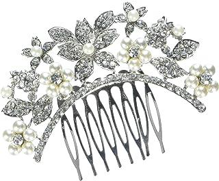 Unik Occasions Rhinestone and Pearl Flower Tiara Bridal Comb