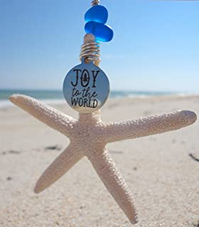 Coastal Christmas Starfish Ornament with Message Charm-Handmade Starfish with Sea Glass Ornament-Beach Christmas-Sea Glass Ornament