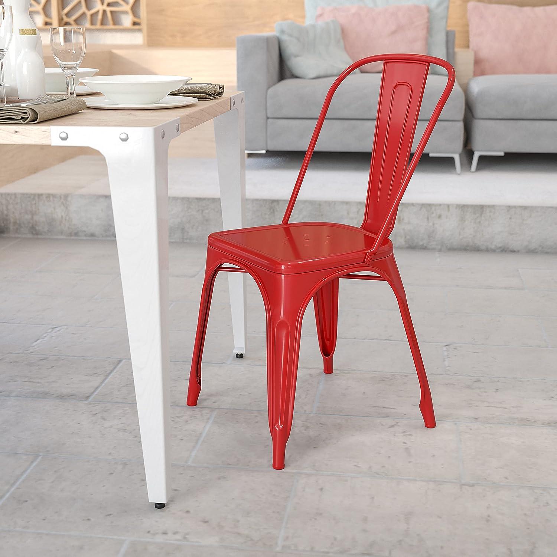 Flash Furniture Commercial Grade Red Metal Indoor Outdoor Stackable Chair