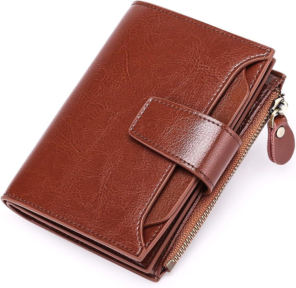 Sendefn, porta carte di credito, portafoglio da donna, protezione rfid, in vera pelle 5191B