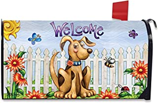 Briarwood Lane Springtime Puppy Welcome Mailbox Cover Fence Floral Standard