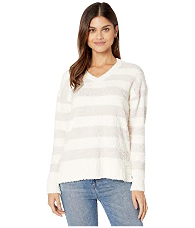 Sanctuary V-Neck Teddy Sweater (Cloud/Light Peral Stripe) Women
