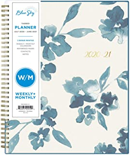 "Blue Sky 2020-2021 Academic Year Weekly & Monthly Planner, Frosted Flexible Cover, Twin-Wire Binding, 8.5"" x 11"", Bakah Blue"