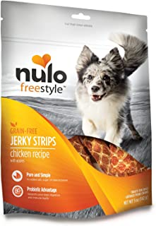 Nulo Puppy & Adult Freestyle Jerky Dog Strips: Natural Healthy Real Meat Grain Free Dog Treats for Training or Reward - 5 oz Bag