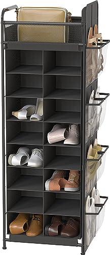 new arrival Simple Houseware Shoe sale Stand Tower Rack w/ side hanging bag 2021 20-Pair, Dark Grey sale