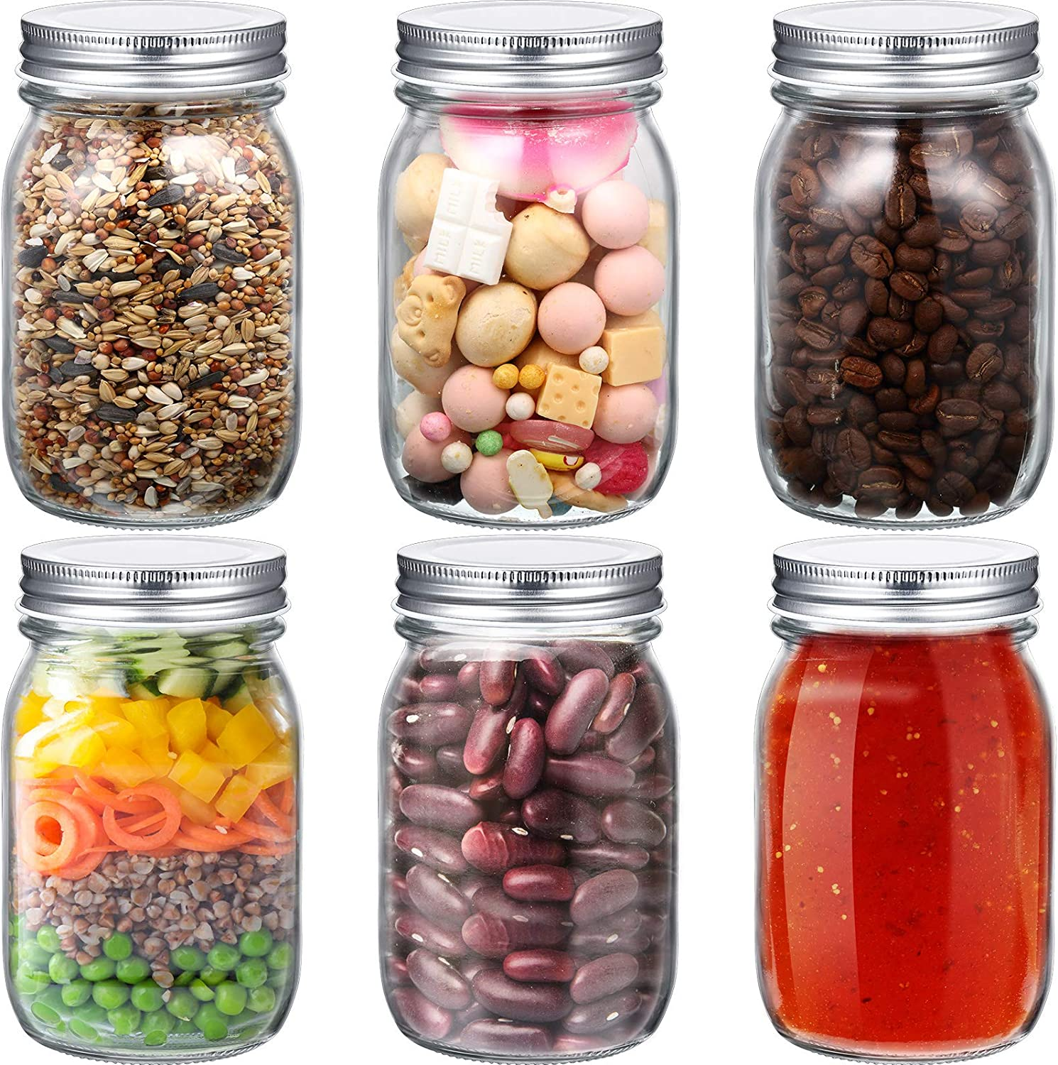 6 Pack Regular El Paso Mall Mouth Glass Mason Jars Canning Direct store Can Ounce 12