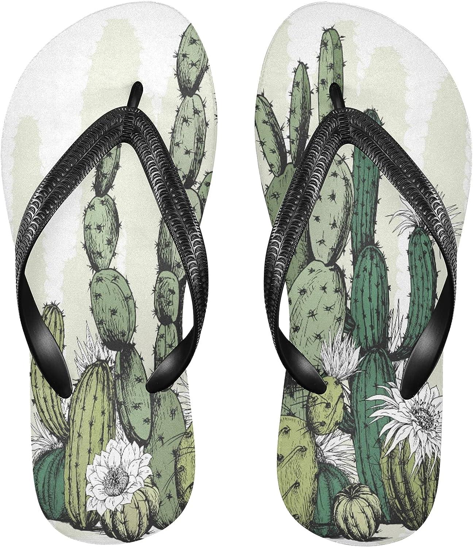 Nander Cactus Plants Flowers Women's Sandal Flip Flops Soft Comfortable Beach Slippers Unisex Adult Durable Flip Flops Shower Shoes