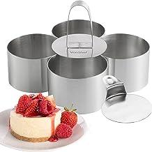 VonShef Lot de 4 Emporte-Pièces avec Poussoir - Acier Inoxydable - présentation de table - Parfait pour gâteaux, gratins, entrées - Cercles en inox