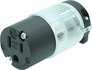 Journeyman-Pro 515CV-LIT Lighted 15 Amp 120-125 Volt, NEMA 5-15R, 2Pole 3Wire, Straight Blade, Female Plug Replacement Cord Connector Outlet, Commercial Grade PVC Power Indicating (BLACK LIT 1-PACK)